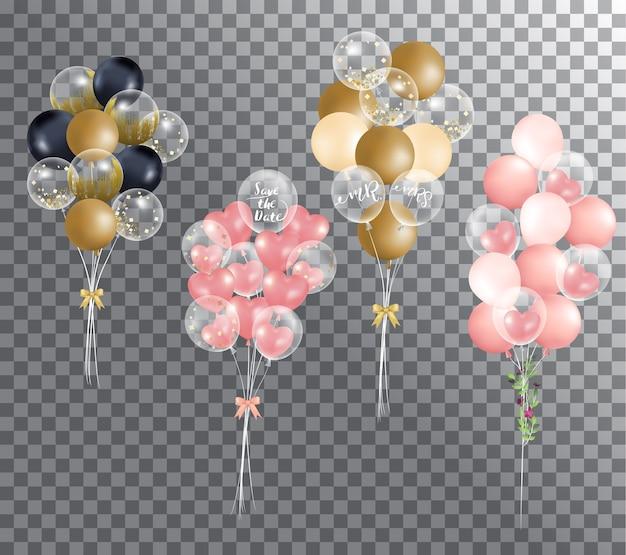 Ballons sur fond transparent
