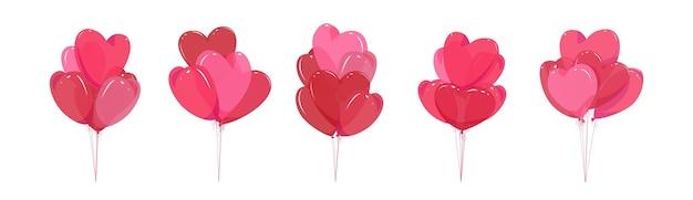 Ballons en forme de coeur. fond isolé