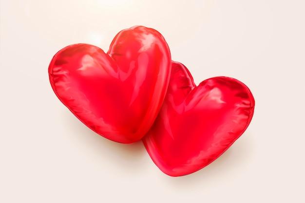 Ballons en forme de coeur rouge en illustration 3d