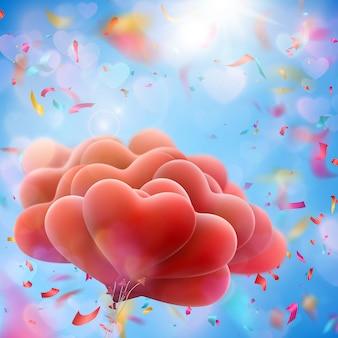 Ballons en forme de coeur saint-valentin.