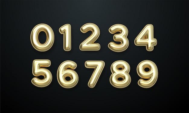 Ballons golden number 0 à 9. ballons aluminium et latex. ballons d'hélium. fête, anniversaire,