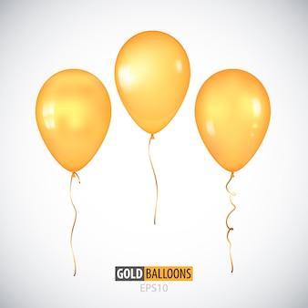 Ballons à l'hélium jaune transparent 3d réaliste isolés