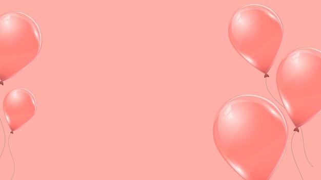 Ballons d'hélium rose sur fond rose. ballons volants en latex 3d. illustration vectorielle.