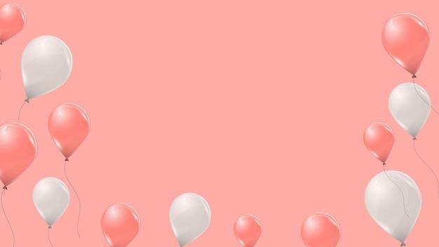 Ballons d'hélium roses et blancs sur fond rose. ballons volants en latex 3d. illustration vectorielle.