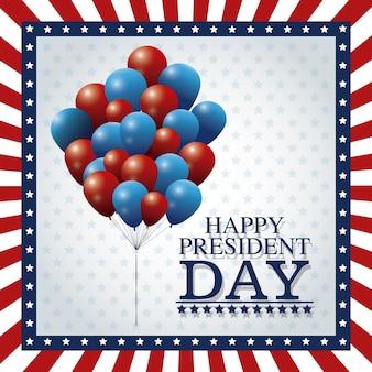 Ballons heureux président jour battant cadre drapeau