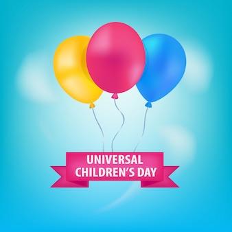 Ballons de la journée mondiale de l'enfance dans le ciel