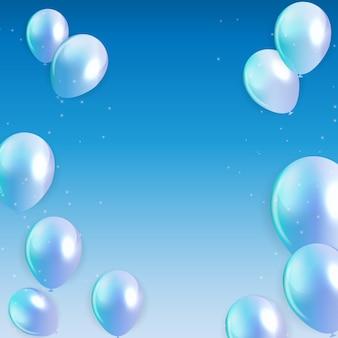 Ballons de joyeux anniversaire sur fond bleu
