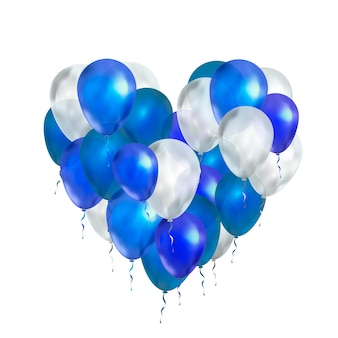 Ballons de luxe aux couleurs bleues et blanches en forme de coeur isolé sur blanc