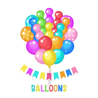 Ballons multicolores. carte de joyeux anniversaire.
