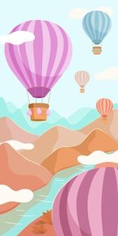 Des ballons multicolores avec des paniers survolent la rivière et les montagnes
