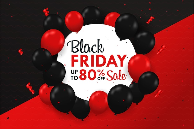 Ballons noirs et rouges flottant sur le côté de la zone de texte vente spéciale blackfriday festive.