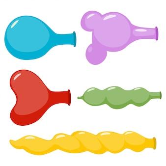 Ballons non gonflés de jeu de dessin animé de différentes formes isolé sur fond blanc.