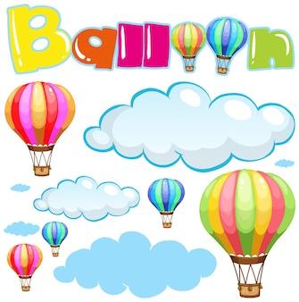 Ballons et nuages dans le ciel