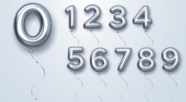 Ballons numérotés en argent de 0 à 9. ballons en aluminium et latex. ballons à l'hélium.