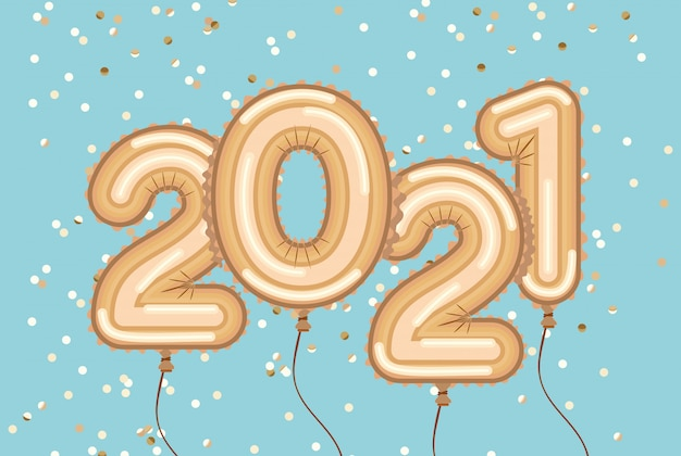 Ballons d'or bonne année avec des confettis