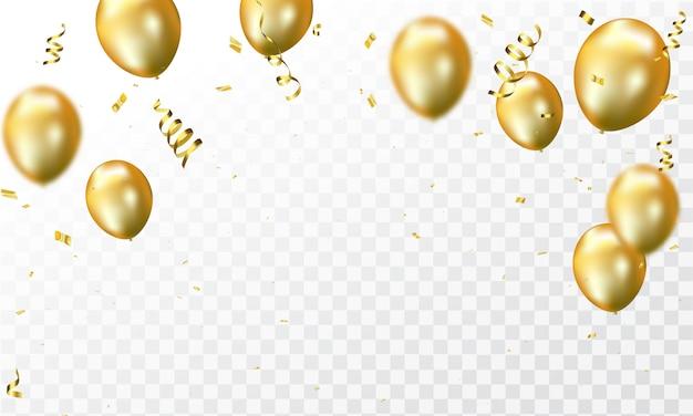 Ballons d'or et confettis