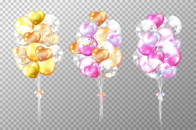 Ballons d'or et roses brillants réalistes isolés sur transparent
