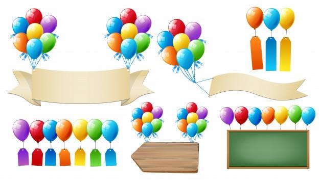 Ballons et panneaux suggèrent une variété de styles
