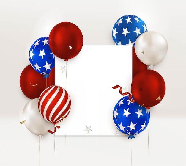 Ballons à rayures, étoiles. bannière de la fête de l'indépendance américaine. le 4 juillet. jour commémoratif des états-unis.