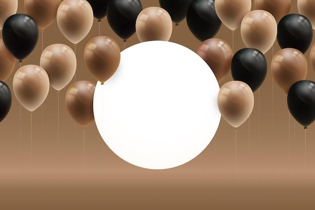 Ballons réalistes avec bannière circulaire vierge