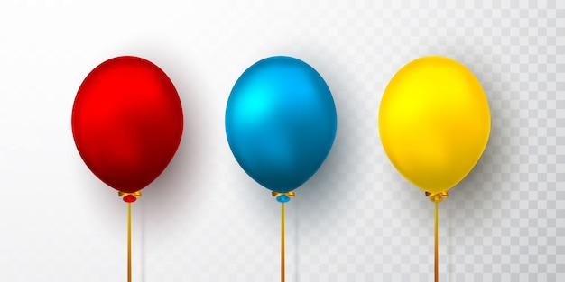 Ballons réalistes sur fond transparent avec ombre