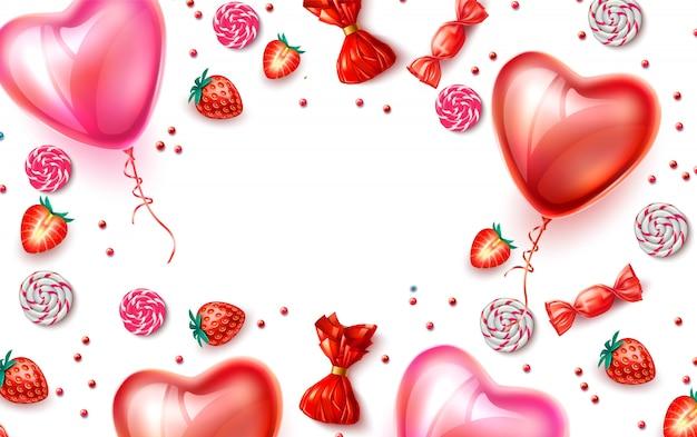 Ballons réalistes en forme de coeur, fraises et bonbons fond romantique doux