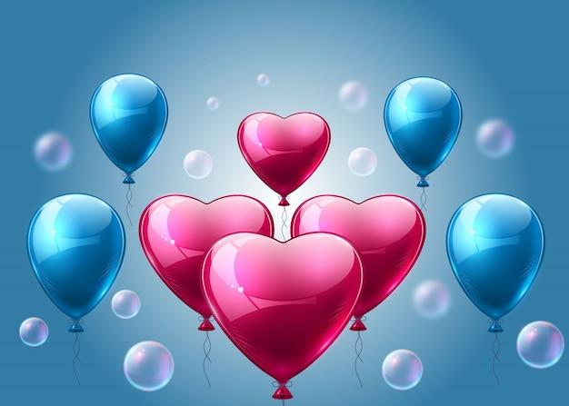 Ballons réalistes roses et bleus