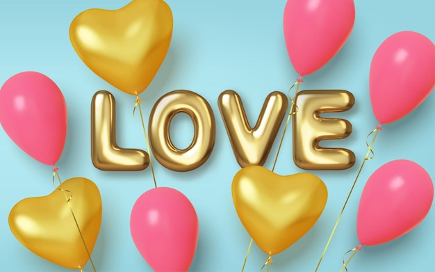 Ballons réalistes roses et or en forme de coeurs. texte sous forme de boules dorées.