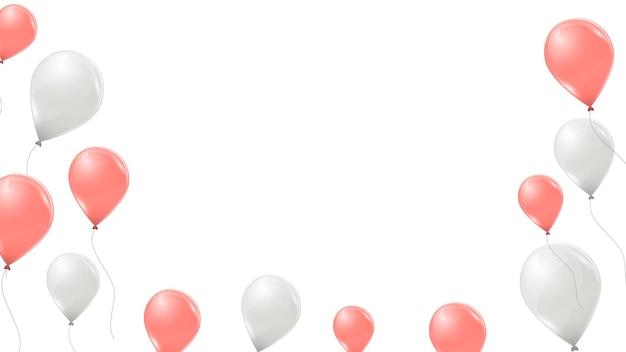 Ballons roses et blancs sur fond blanc. ballons volants en latex 3d. illustration vectorielle.