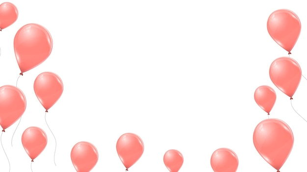 Ballons roses isolés sur fond blanc. ballons volants en latex 3d. illustration vectorielle.
