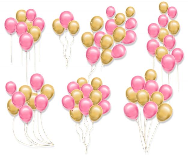 Ballons roses et jaunes