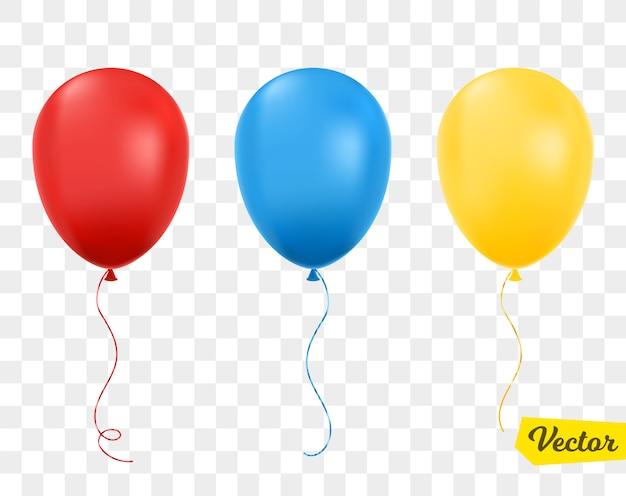 Ballons rouges, bleus et jaunes isolés.