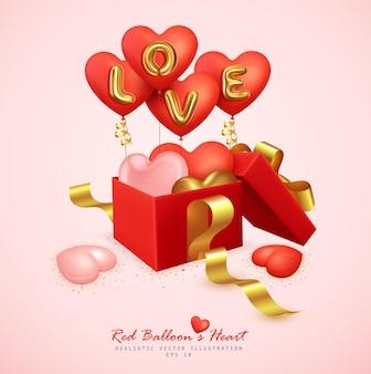 Ballons rouges réalistes et boîte-cadeau ouverte