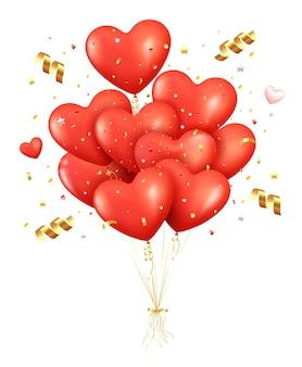 Ballons rouges réalistes avec des confettis