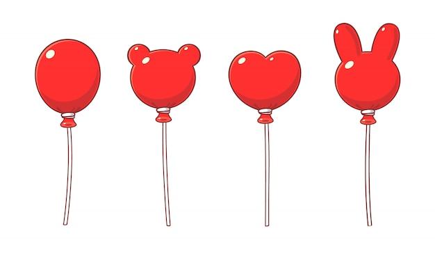 Ballons rouges en style cartoon, formes variées.