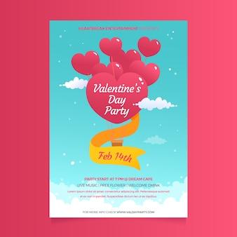 Ballons et rubans en forme de coeur pour l'affiche de la saint-valentin
