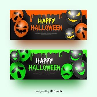 Ballons avec des visages des bannières d'halloween réalistes