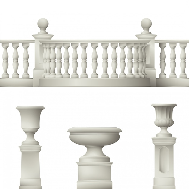 Balustrade, vase décoratif, ensemble d'éléments paysagers