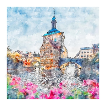 Bamberg allemagne aquarelle croquis illustration dessinée à la main