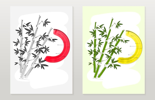 Bambou de bannières verticales, soleil dans le style traditionnel japonais sumi-e. illustration vectorielle.
