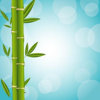 Bambou sur illustration vectorielle fond bleu