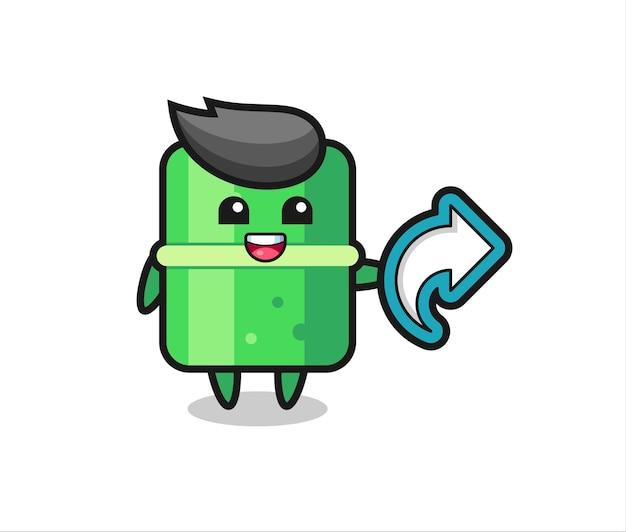 Le bambou mignon tient le symbole de partage de médias sociaux, conception de style mignon pour t-shirt, autocollant, élément de logo