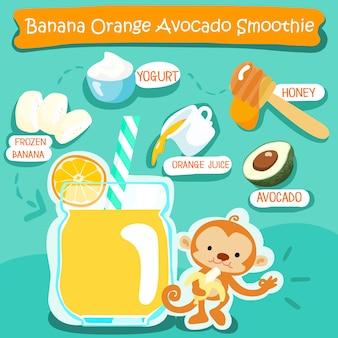 Banana orange avocat délicieux smoothies sains