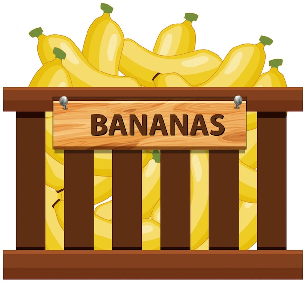 Banane dans une caisse en bois