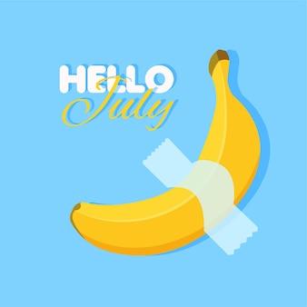 Banane de dessin animé sur bleu. bonjour d'été juillet