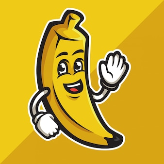 Banane de dessin animé mignon agitant sa main