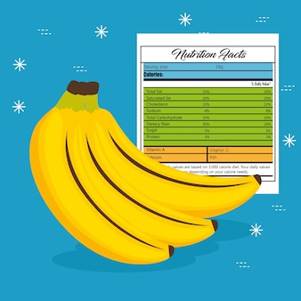 Banane avec des faits de nutrition vector illustration design