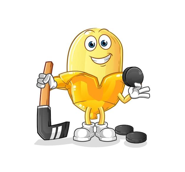 La banane jouant au hockey. personnage de dessin animé