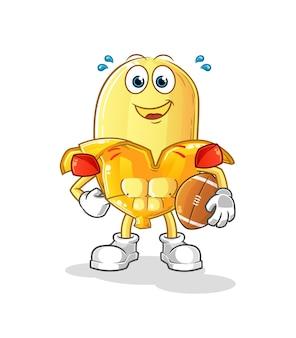 La banane jouant le personnage de rugby. mascotte de dessin animé