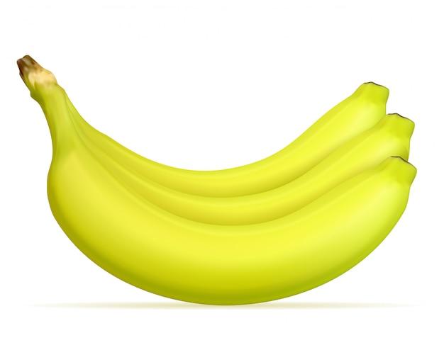 Banane mûre jaune et une certaine illustration vectorielle verte
